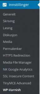 WP-Varnish for å tømme WordPress cache